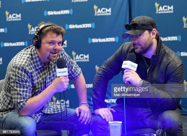 SiriusXM host Storme Warren speaks with singersongwriter Chris Young during SiriusXM's The Highway Channel broadcasts backstage leading up to the...