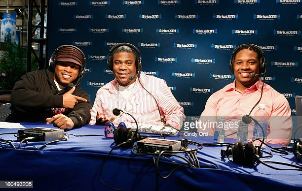 SiriusXM host Sway Calloway, actor Tracey Morgan and NFL Player and SiriusXM host Maurice Jones-Drew attend SiriusXM's Shade 45 channel during a live...