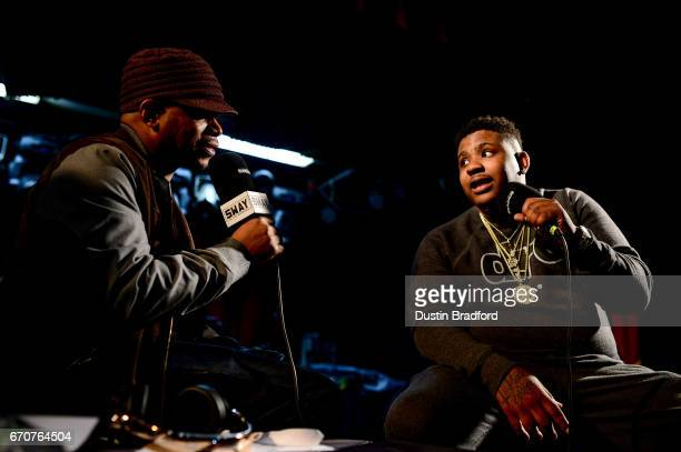 SiriusXM Host Sway Calloway talks to hip hop artist Trev Rich as he broadcasts 'Sway In The Morning' on Shade 45 on April 20 2017 Denver Colorado