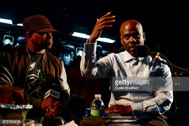 SiriusXM Host Sway Calloway talks with Denver personality Brother Jeff Fard as he broadcasts 'Sway In The Morning' on Shade 45 on April 20 2017...