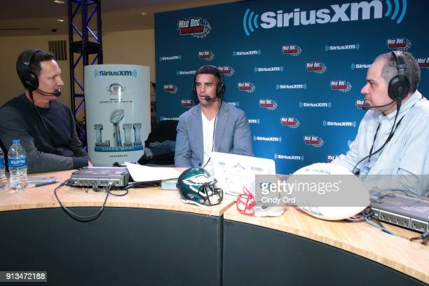 SiriusXM hosts Danny Kanell and Steve Torre and Marcus Mariota of the Tennessee Titans attend SiriusXM at Super Bowl LII Radio Row at the Mall of...