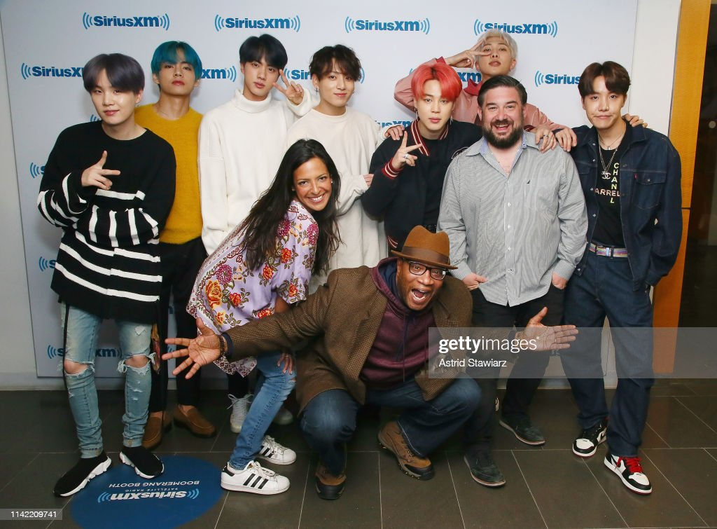 BTS Visit 'The Morning Mash Up' On SiriusXM Hits 1 Channel At The SiriusXM Studios In New York : News Photo