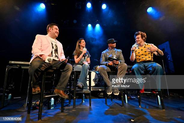 SiriusXM Hosts Ryan Sampson Nicole Ryan and Stanley T speak with Harry Styles before he performs for SiriusXM and Pandora in New York City at Music...