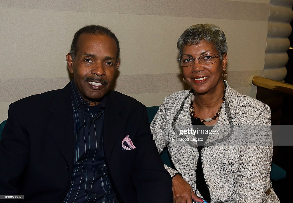SiriusXM moderator, Joe Madison (L) and wife/producer, Sharon Madison pose backstage at Charles H. Wright Museum of African American History on September 16, 2013 in Detroit, Michigan.
