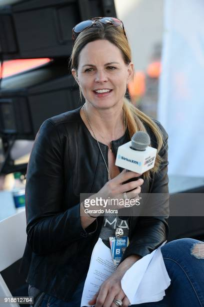 SiriusXM NASCAR Radio host Shannon Spake on stage at the Daytona 500 on February 15 2018 in Daytona Beach Florida