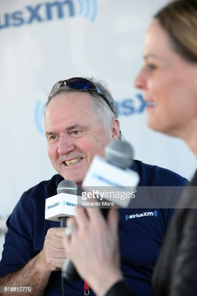 SiriusXM NASCAR Radio hosts Doug Rice and Shannon Spake on stage at the Daytona 500 on February 15 2018 in Daytona Beach Florida