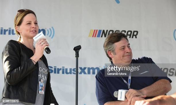 SiriusXM NASCAR Radio hosts Shannon Spake and Steve Post on stage at the Daytona 500 on February 15 2018 in Daytona Beach Florida
