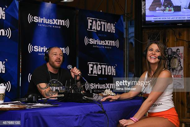 SiriusXM radio DJ Jason Ellis and NYC Hooters Girl Megan Hill attend SiriusXM's The Jason Ellis Show Live From Hooters In New York at Hooters on...