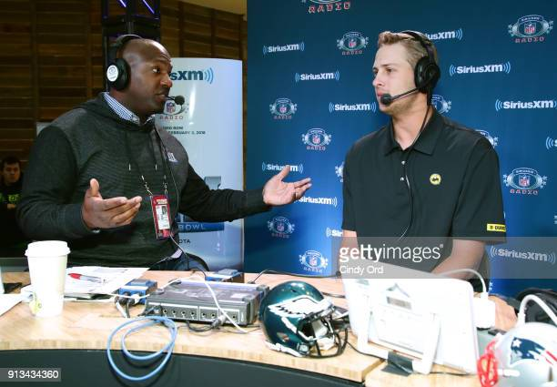 SiriusXM radio host Kirk Morrison and Jared Goff of the Los Angeles Rams attend SiriusXM at Super Bowl LII Radio Row at the Mall of America on...