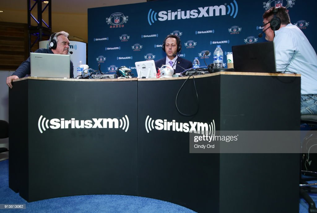 SiriusXM radio hosts Pat Kirwan (L) and Jim Miller (R) and president of the Minnesota Vikings Mark Wilf attend SiriusXM at Super Bowl LII Radio Row at the Mall of America on February 2, 2018 in Bloomington, Minnesota.