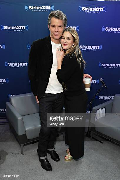 SiriusXM's Town Hall with Drew Barrymore and Tim Olyphant to air on Andy Cohen's Exclusive SiriusXM Channel Radio Andy on January 27 2017 in New York...