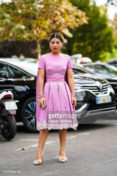 Sirivannavari Nariratana, Princess of Thailand, wears a pink dress with white embroidery, earrings, outside Elie Saab, during Paris Fashion Week -...