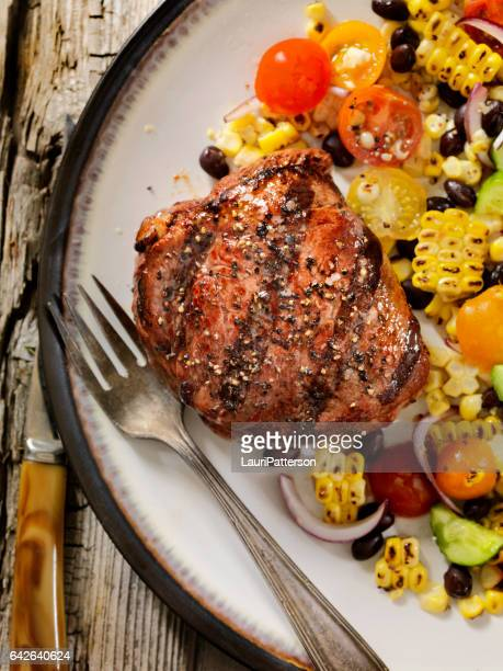 Sirloin Steak with Grilled Corn and Bean Salad