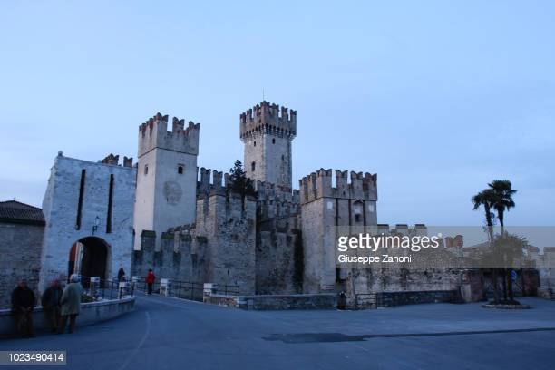 sirmione scaliger castle - flying buttress stock photos and pictures