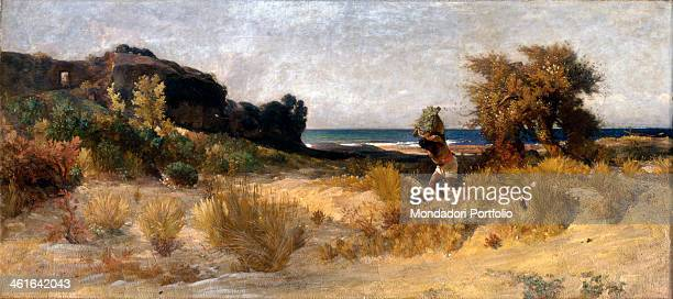 Sirocco Day on the Coast near Rome by Nino Costa 1852 1874 19th century oil on canvas Italy Tuscany Florence Pitti Palace Modern Art Gallery Whole...