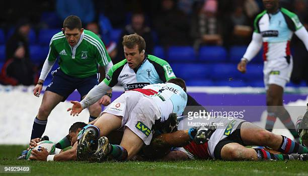 Sisa Koyamaibole of Sale scores a try during the Heineken Cup match between Sale Sharks and Harlequins at Edgeley Park on December 20, 2009 in...