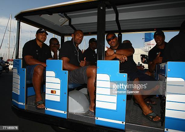 Sisa Koyamaibole Semisi Naevo and Sunia Koto of Fiji sit on a tourist bus heading for the Basilique NotreDame de la Garde on October 4 2007 in...