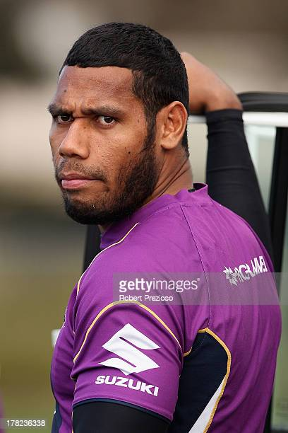 Sisa Waqa looks on during a Melbourne Storm NRL training session at Gosch's Paddock on August 28, 2013 in Melbourne, Australia.