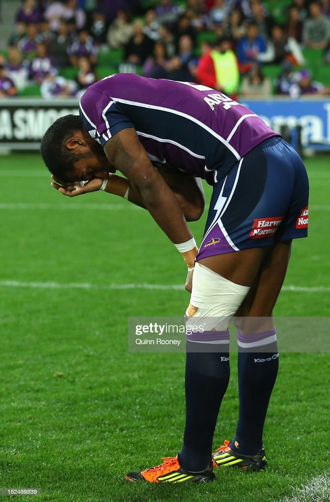 Sisa Waqa of the Storm looks dejected after getting injured in the warm up during the NRL Preliminary Final match between the Melbourne Storm and the Manly Sea Eagles at AAMI Park on September 21, 2012 in Melbourne, Australia.