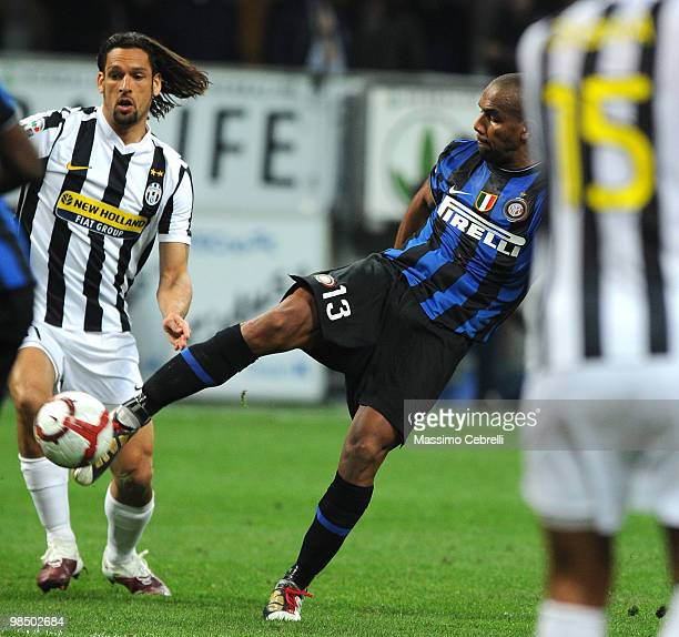 Sisenando Maicon Douglas of FC Intternazionale Milano scores his team's opening goal during the Serie A match between FC Internazionale Milano and...