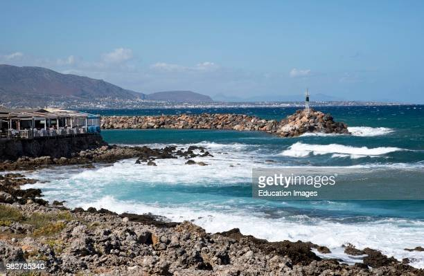 Sisi Crete Greece Seafront restaurant on the harbor entrance from the Sea of Crete