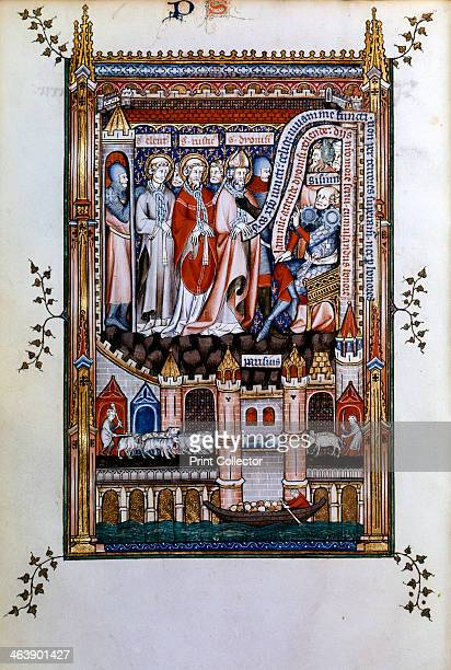 Sisinnius exhorts St Denis to renounce his faith 1317 St Denis St Eleutherius and St Rusticus in chains stand before Sisinnius who attempts to order...