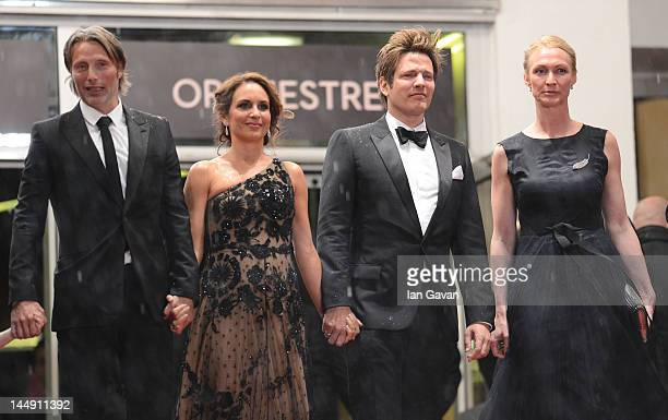 Sisse Graum Jorgensen Director Thomas Vinterberg Alexandra Rapaport and Mads Mikkelsen attend the Jagten Premiere during the 65th Annual Cannes Film...