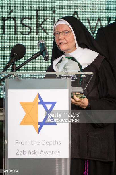 Sister Antonietta Fracek from Franciscan Sisters of the Monastery of Mary speaks during the From The Depths Zabinski Awards ceremony honoring nonJews...