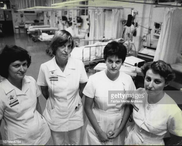 Sister Dianne McDermott Sister Lisa Mongomery Sister Julie Tonkin and Sister Virginia Makeham in the intensive care ward June 16 1981