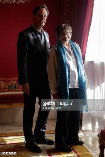 Sister Helen Prejean and composer Jake Heggie attend the 'Dead Man Walking' theatre play press conference at Royal Theatre on January 23 2018 in...