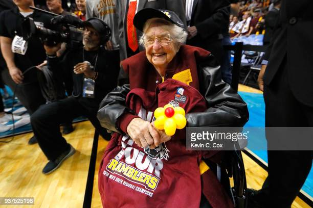 Sister Jean Dolores Schmidt celebrates with the Loyola Ramblers after defeating the Kansas State Wildcats during the 2018 NCAA Men's Basketball...