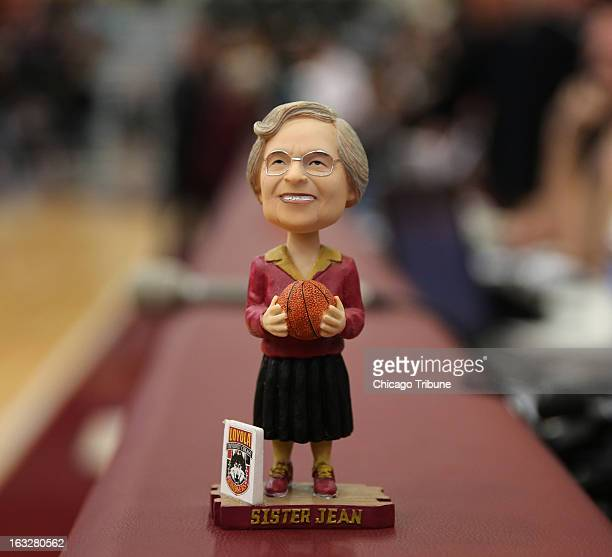Sister Jean Dolores Schmidt has a personalized bobblehead during a game of the Loyola men's basketball team for which she serves as the chaplain...