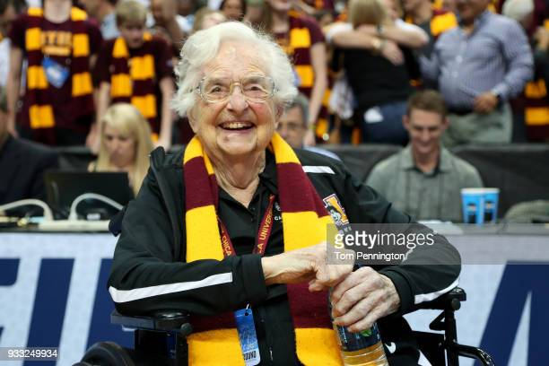 Sister Jean DoloresSchmidt celebrates after the Loyola Ramblers beat the Tennessee Volunteers 6362 in the second round of the 2018 NCAA Tournament at...