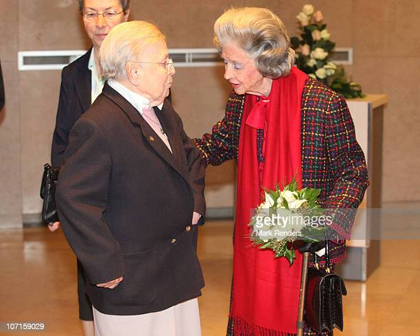 Sister Leontine and Queen Fabiola of Belgium attends a tribute to Sister Leontine at Clinique SaintJean on November 26 2010 in Brussels Belgium