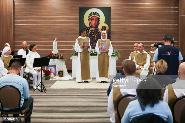 Sister Lucia de Jesus and Friar Elias del Sagrado Corazon during The Apparition of the Virgin Mary meeting organized by the Association Mary Mother...