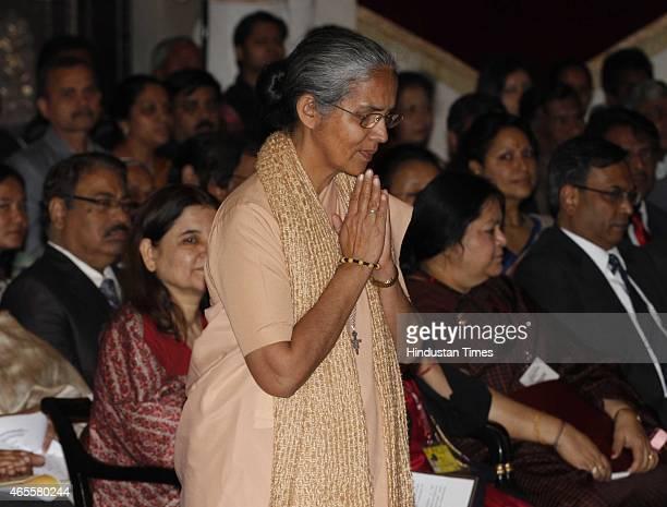 Sister Mariola from Rajasthan before receiving Stree Shakti Puraskar 2014 Rani Gaidinliu Zeliang Award from President Pranab Mukherjee on the...
