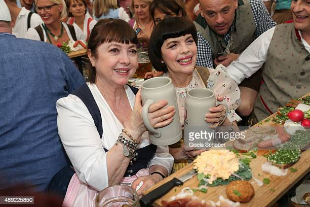 Sister Monique Mathieu and Mireille Mathieu during the Oktoberfest 2015 Opening at Schottenhamel beer tent at Theresienwiese on September 19 2015 in...