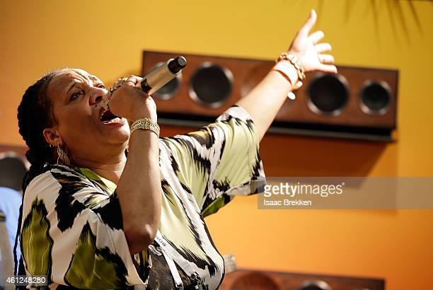 Sister Nancy performs at the House of Marley booth during the International Consumer Electronics Show at the Las Vegas Convention Center on January...