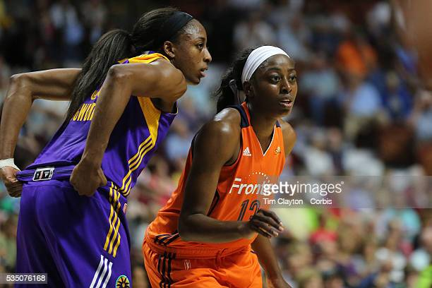 Sister Nneka Ogwumike of the Los Angeles Sparks and Chiney Ogwumike of the Connecticut Sun during the Los Angeles Sparks Vs Connecticut Sun WNBA...