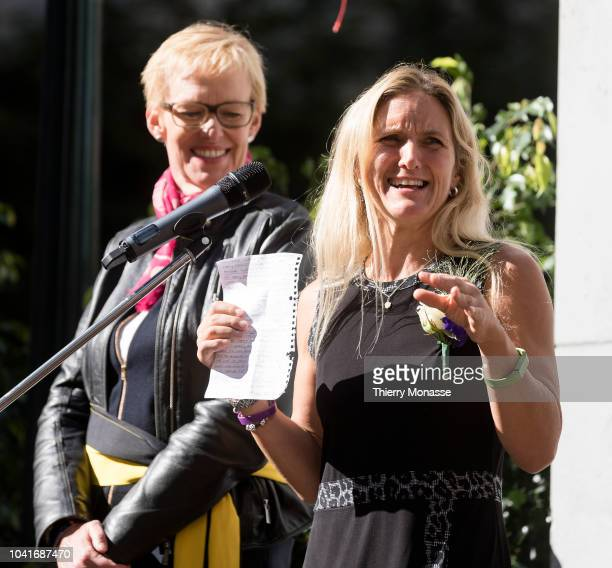 Sister of Jo Cox Kim Leadbeater attend a ceremony ceremony to name a square in honor of slain British Labour MEP Jo Cox on September 27 2018 in...