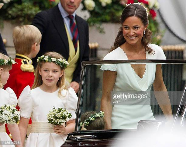 Sister of Kate Middleton and Maid of honour Philippa Middleton and bridesmaid Margarita Armstrong-Jones leave the Gorin Hotel ahead of the Royal...