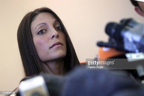 Sister of Meredith Kercher Stephanie speaks during a press conference ahead of the verdict in Amanda Knox and Raffaele Sollecito's appeal of their...