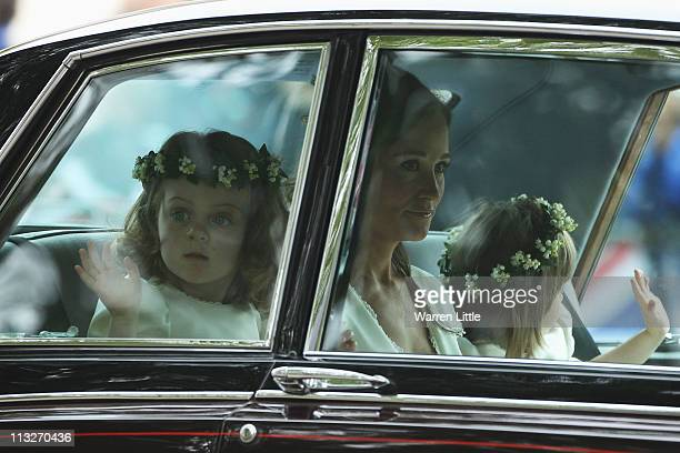 Sister of the bride and Maid of Honour Pippa Middleto Grace Van Cutsem and Eliza Lopes ride to attend the Royal Wedding of Prince William to...
