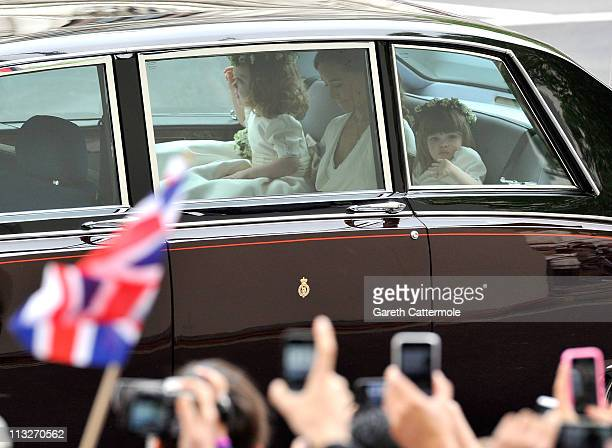 Sister of the bride and Maid of Honour Pippa Middleton Bridesmaids Grace Van Cutsem and Eliza Lopes arrive to attend the Royal Wedding of Prince...