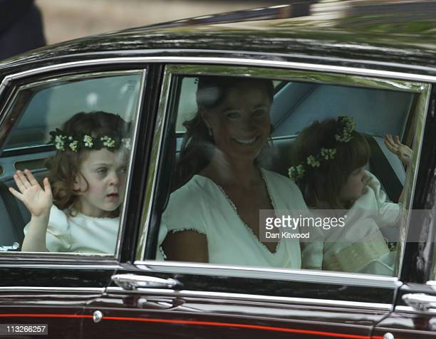 Sister of the bride and Maid of Honour Pippa Middleton Grace Van Cutsem and Eliza Lopes arrive to attend the Royal Wedding of Prince William to...