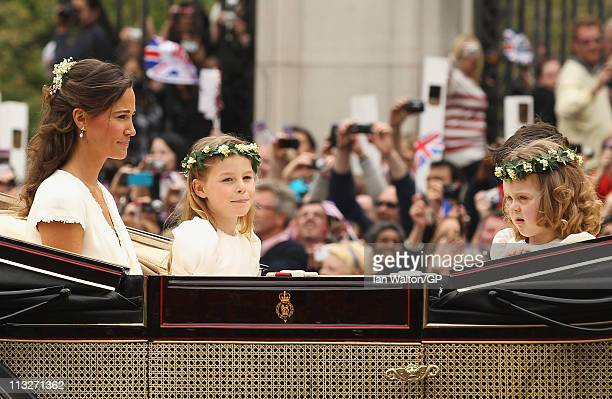 Sister of the bride and Maid of Honour Pippa Middleton with Bridesmaids Margarita ArmstrongJones and Grace Van Cutsem ride in a carriage after the...