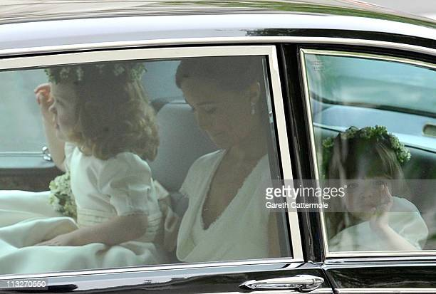 Sister of the bride and Maid of Honour Pippa Middleton with Bridesmaids Grace Van Cutsem and Eliza Lopes arrive to attend the Royal Wedding of Prince...