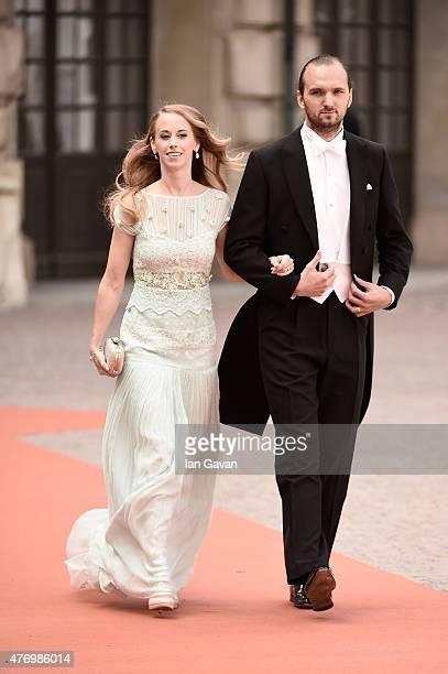 Sister of the bride Sara Hellqvist and Oskar Bergman attend the royal wedding of Prince Carl Philip of Sweden and Sofia Hellqvist at The Royal Palace...