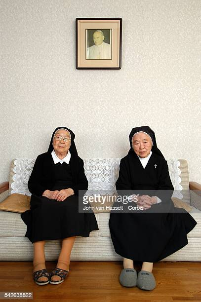 Sister Oyama came to Nagasaki from Kyoto three months after the bombing to help out and still remembers the smell of death lingering Sister Kimiyo...