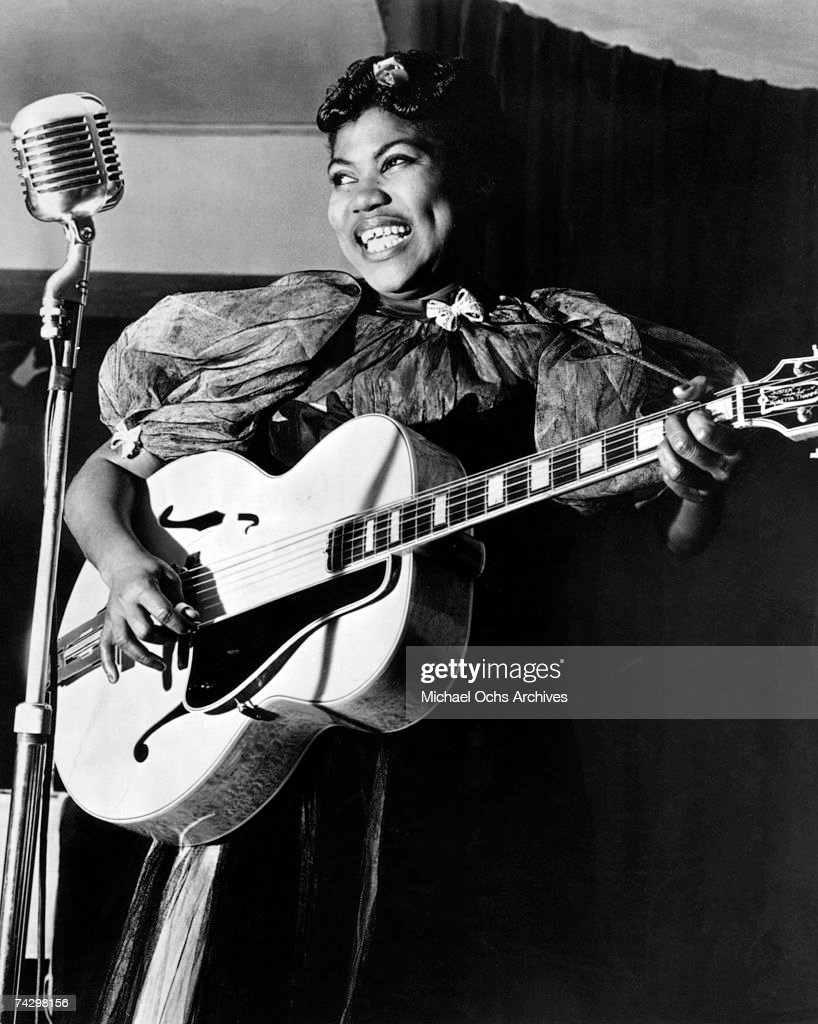 Sister Rosetta Tharpe performs onstage with the Lucky Millinder Orchestra in circa 1938.
